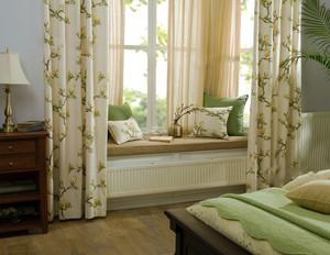 田园风格问温馨自然飘窗窗帘设计装修效果图
