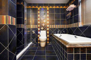现代风格低调精致卫生间瓷砖设计装修效果图