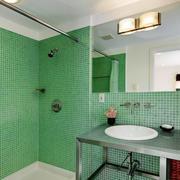 清新风格卫生间马赛克瓷砖设计装修效果图