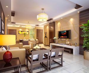 新中式风格大户型室内客厅电视背景墙装修效果图