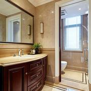 复古美式风格大户型卫生间浴室柜设计装修效果图