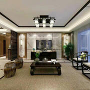 中式风格大户型室内客厅电视背景墙装修效果图