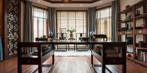 中式风格别墅室内书房博古架装修效果图赏析