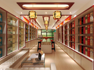 56平米中式风格烟酒店装修效果图赏析