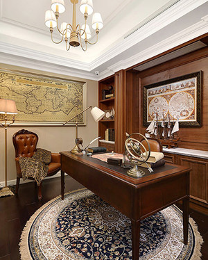 古典欧式风格精致书房设计装修效果图