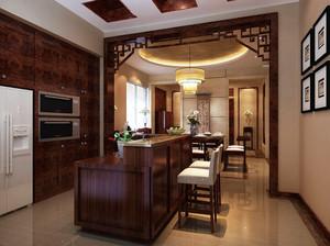 古色古香中式风格开放式厨房吧台装修效果图