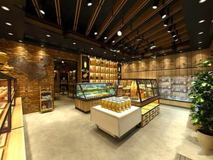 66平米简约风格面包店展柜设计装修效果图