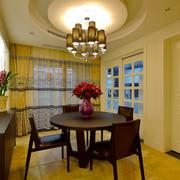 美式风格精致圆形餐厅吊顶设计装修效果图