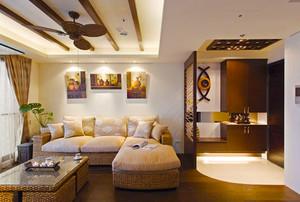 东南亚风格精致客厅隔断设计装修效果图
