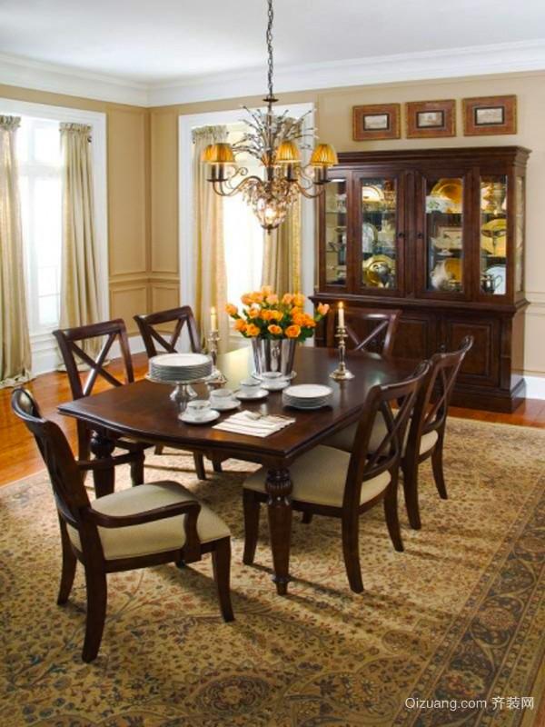 复古风格大户型室内餐厅设计装修效果图