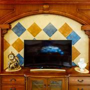美式田园风格客厅电视背景墙装修效果图