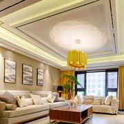 中式风格温馨浅色客厅吊顶设计装修效果图