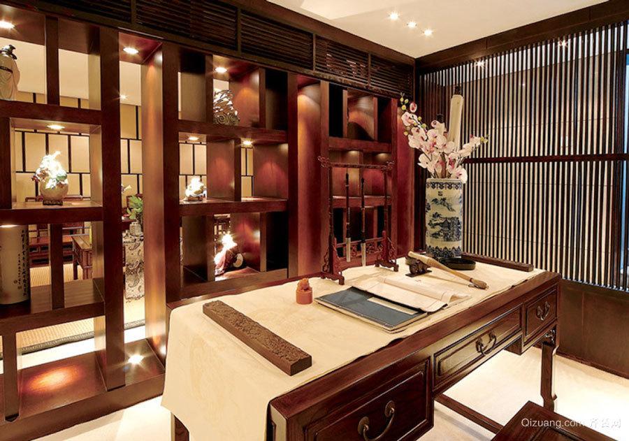 中式风格精致书房博古架设计装修效果图