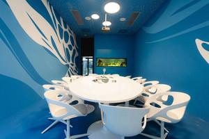 时尚蓝色现代风格会议室装修效果图