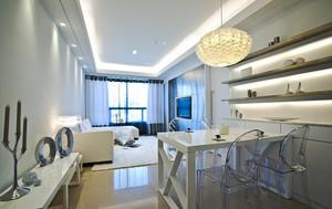 56平米现代简约风格纯白单身公寓装修效果图