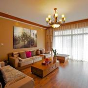 东南亚风格大户型室内客厅背景墙装修效果图