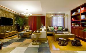 异域风情东南亚风格两居室室内客厅装修效果图