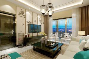 新中式风格两居室客厅电视背景墙装修效果图
