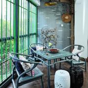 中式风格古朴雅韵封闭式阳台装修效果图