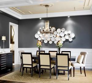 现代简约美式风格室内餐厅照片墙装修效果图