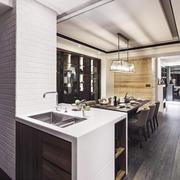 现代风格大户型室内精致厨房餐厅装修效果图