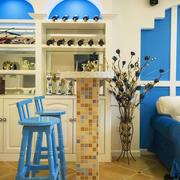 蓝色经典地中海风格室内吧台设计装修效果图