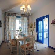 地中海风格大户型室内餐厅窗帘设计装修效果图