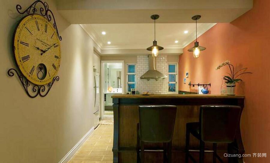 复古风格大户型室内客厅吧台装修效果图赏析