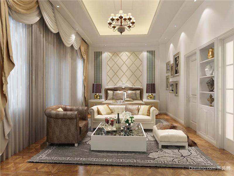 简欧风格温馨主卧室窗帘设计装修效果图