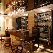 复古美式风格别墅室内酒柜设计装修效果图
