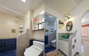 90平米蓝色主题地中海风格室内装修效果图