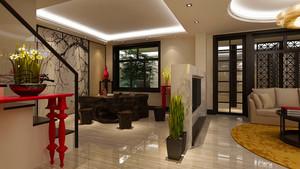 中式风格复式楼室内餐厅隔断设计装修效果图