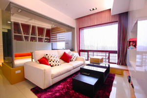 现代简约风格小户型客厅沙发背景墙装修效果图