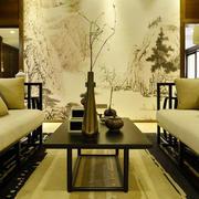 中式风格古典精致客厅装饰画装修效果图