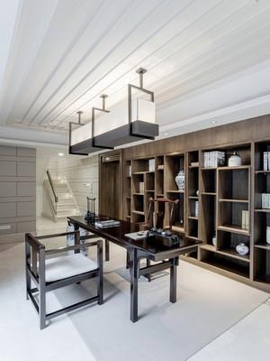 20平米新中式风格精致书房博古架装修效果图