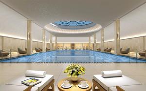 500平米现代风格五星级酒店游泳池装修效果图