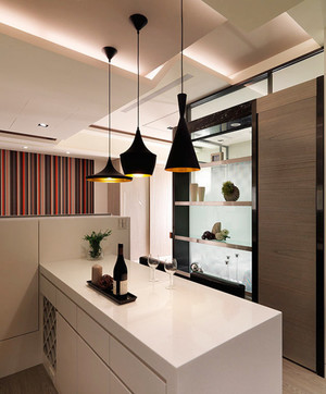 现代风格纯白精致吧台设计装修效果图