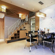 现代风格复式楼室内餐厅背景墙装修效果图