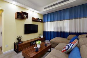 简约美式风格小户型室内客厅电视背景墙装修效果图