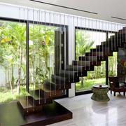 东南亚风格别墅室内楼梯设计装修效果图