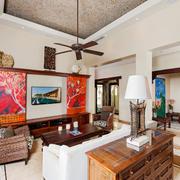 乡村风格别墅客厅背景墙装修效果图赏析