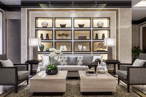 新中式风格大户型室内客厅博古架装修效果图