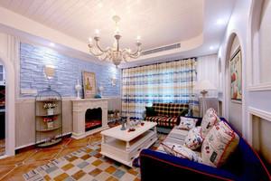 地中海风格精致客厅窗帘设计装修效果图