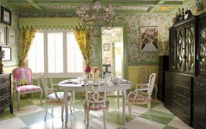 欧式田园风格大户型室内餐厅窗帘设计装修效果图