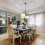 现代简约美式风格大户厨房隔断设计装修效果图