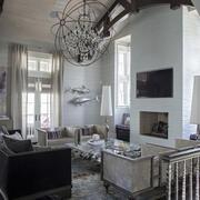 简欧风格别墅室内精美客厅吊顶设计装修效果图