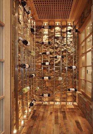 乡村风格别墅室内精致酒柜设计装修效果图