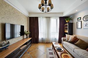 72平米美式风格一居室室内装修效果图鉴赏
