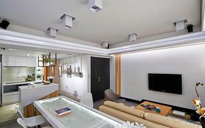 68平米现代简约风格单身公寓装修效果图案例