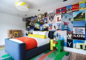 宜家风格青少年儿童房卧室背景墙效果图